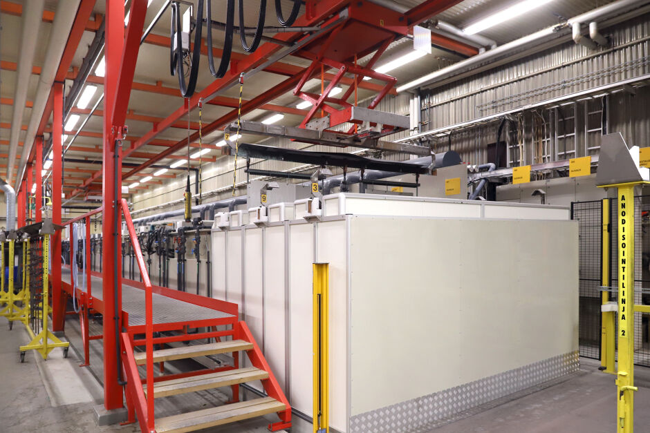 Mecapinta's anodizing capacity grew manyfold with the new line